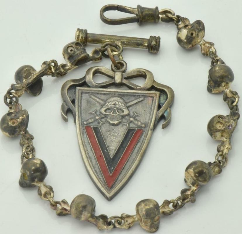 Imperial Russian White Army Kornilovs Regiment Skull jeton and watch chain fob