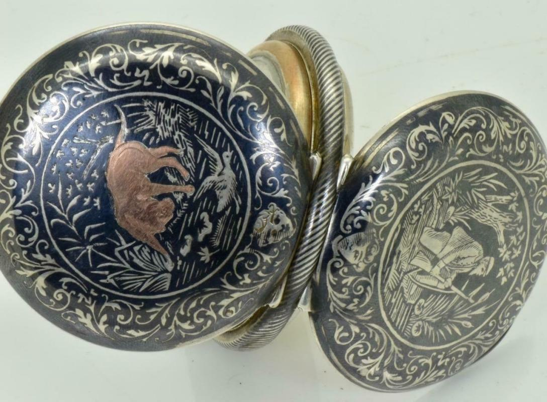 Rare Imperial Russian silver,gold and niello full hunter pocket watch.Hunting scene