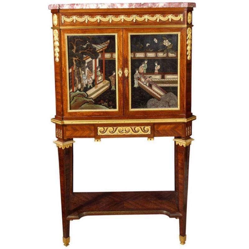 French Ormolu-Mounted Mahogany and Coromandel Lacquer Cabinet by Fernand Kohl