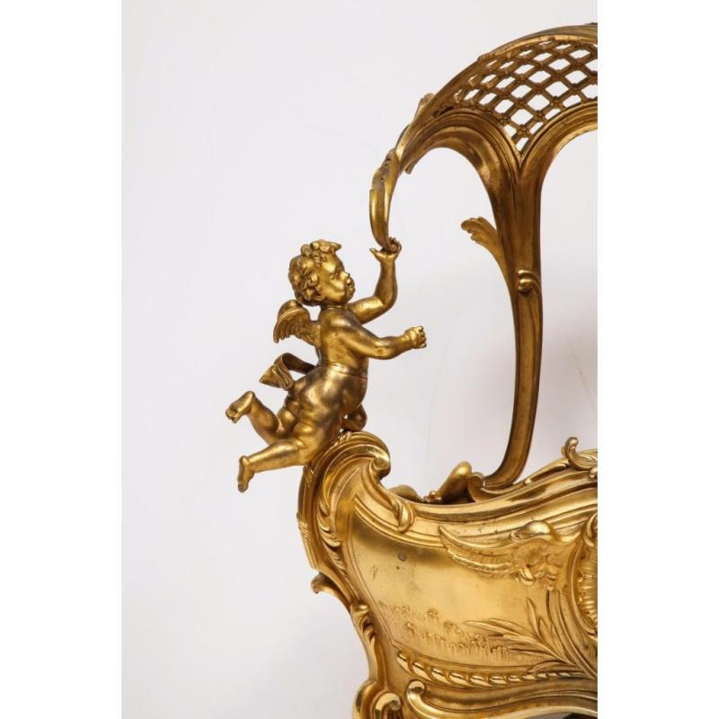 Exceptional Napoleon III French Ormolu Fireplace Log Cradle Holder, Centerpiece