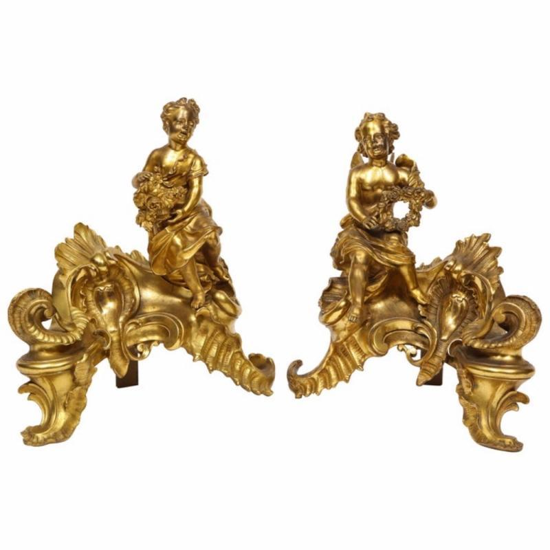 Pair of French Louis XV Style Gilt Bronze Ormolu Chenets, circa 1880