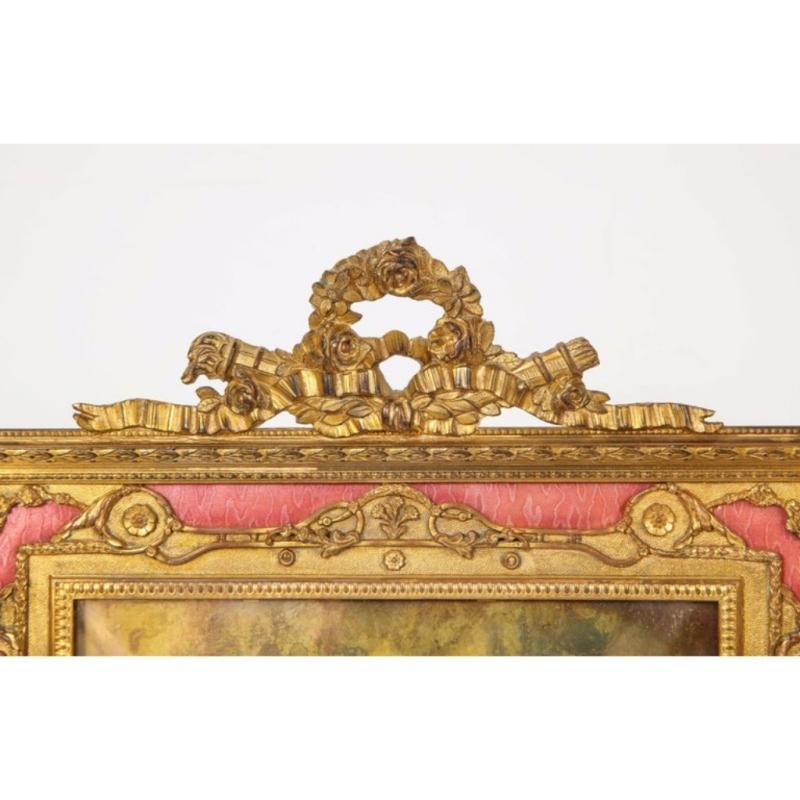 Large French Gilt Bronze Ormolu and Pink Guilloche Enamel Picture Photo Frame