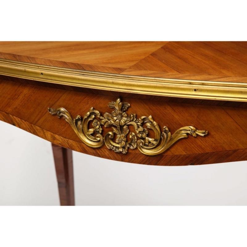 Maison Millet, a Louis XV Style Ormolu-Mounted Parquetry Kingwood Table