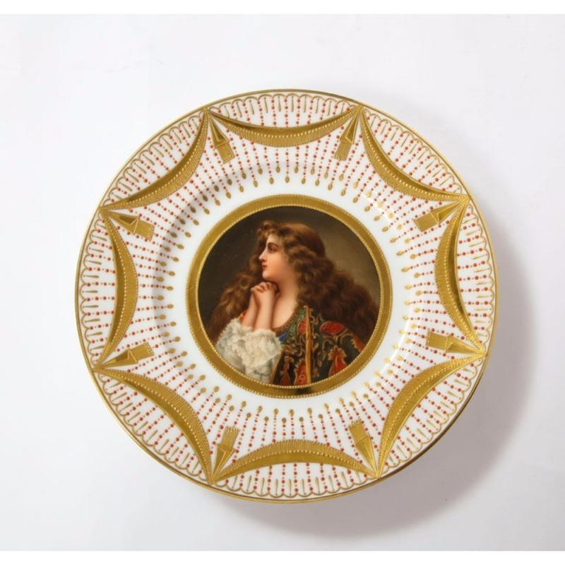 Exceptional Set of Five Royal Vienna Jeweled Porcelain Portrait Plates by Wagner