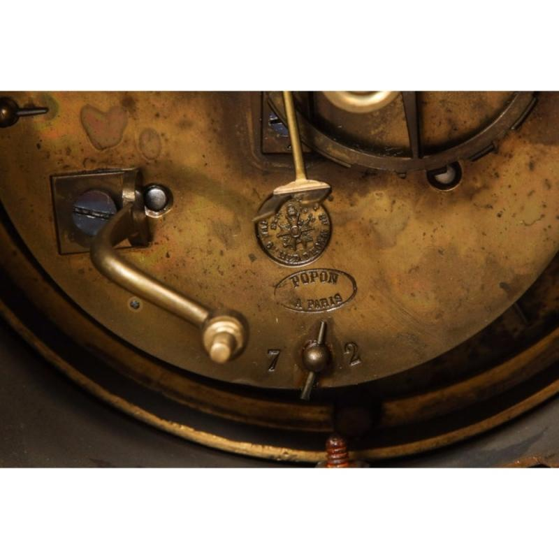 French Ormolu-Mounted Bleu Turquin Marble Clock, Japy Frères, circa 1880