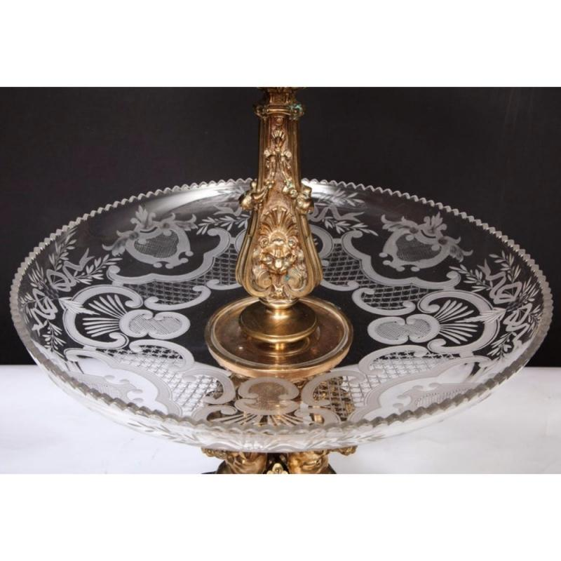 Large French Silvered Bronze and Cut Crystal Allegorical Three-Tier Centerpiece