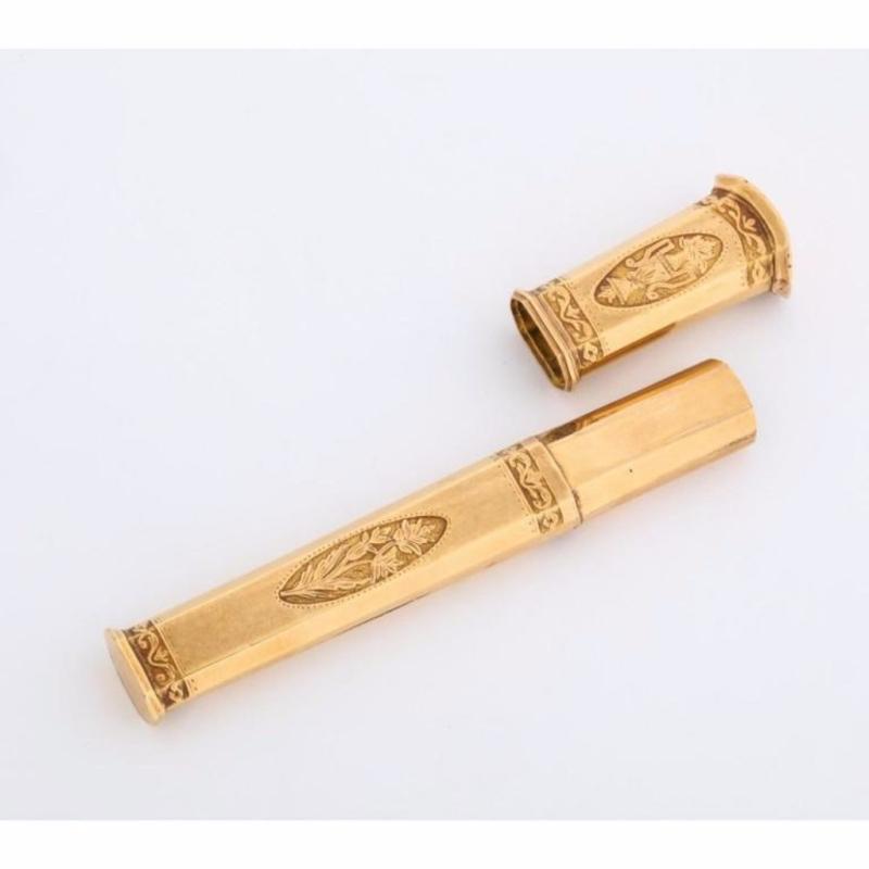 Good Quality English 18 Karat Gold Etui Case