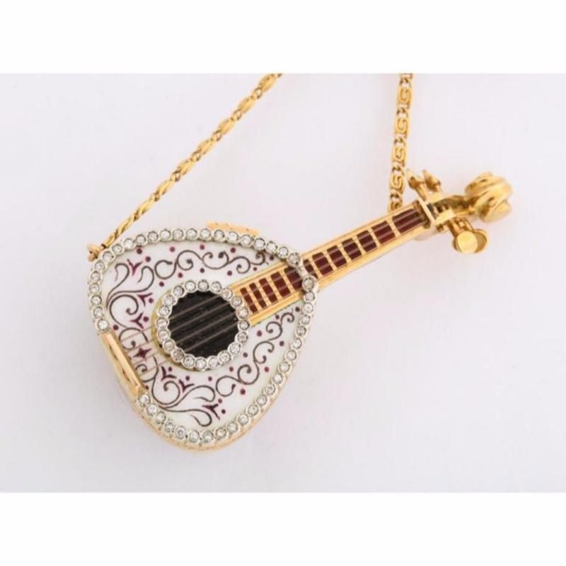 18 Karat Gold Enamel and Diamond Mandolin Pendant Watch Brooch G. Ferrero
