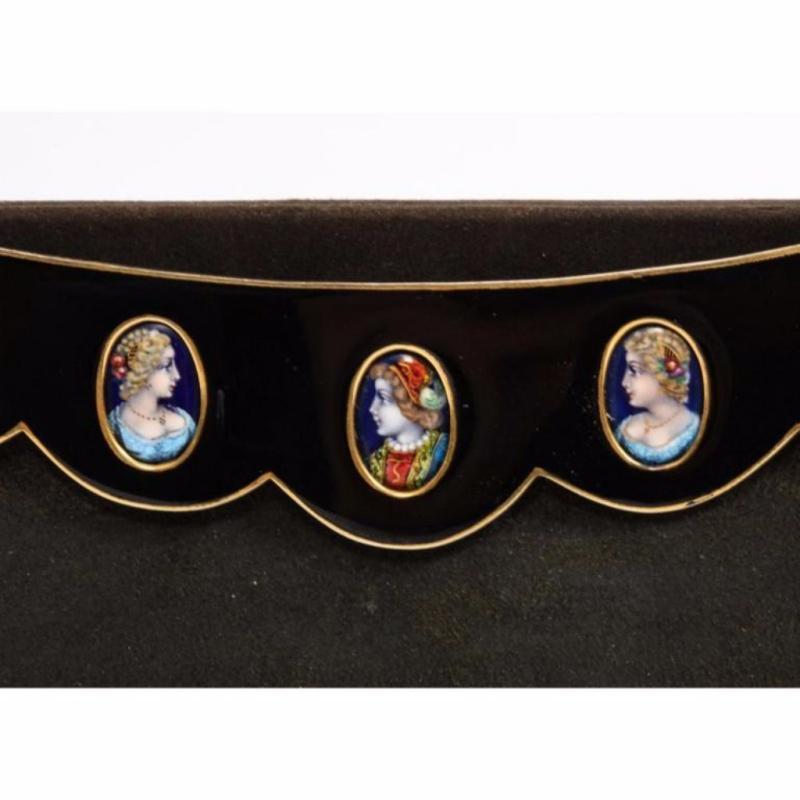 Elegant French Limoges Enamel and Black Suede Purse Handbag, George Baring, 1950