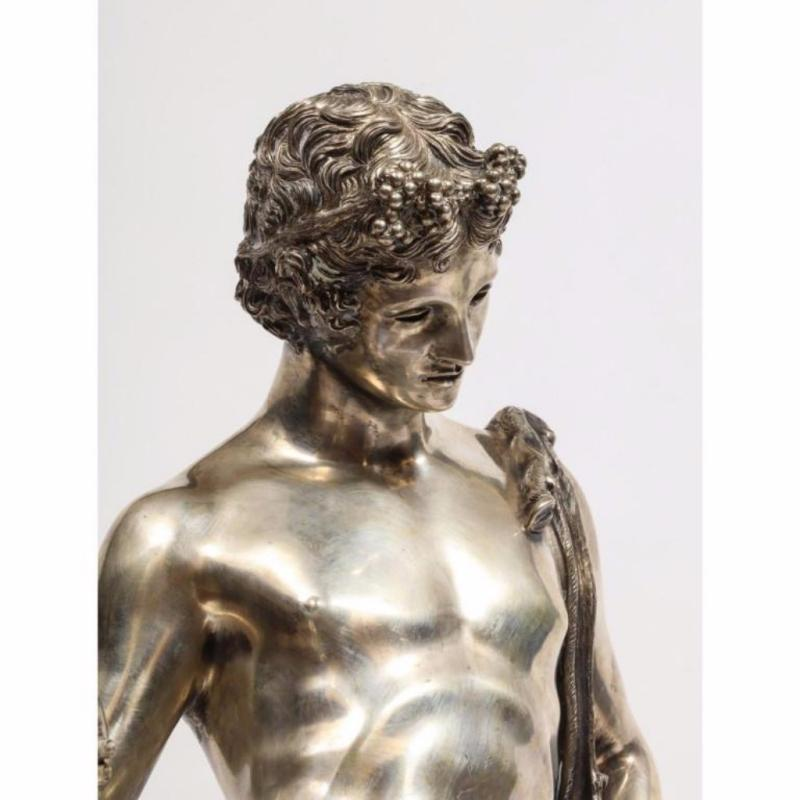 Large Rare Italian Silver Figure Statue of Narcissus, after the Antique