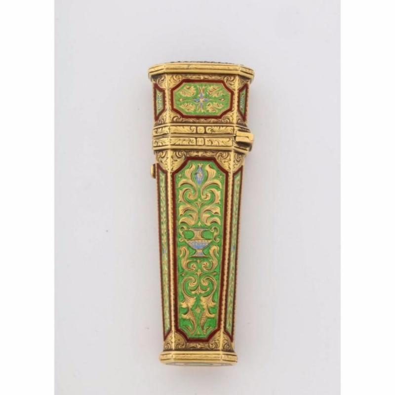 Austrian Gold, Enamel, and Jewel-Set Necessaire Etui Box Case, 19th Century