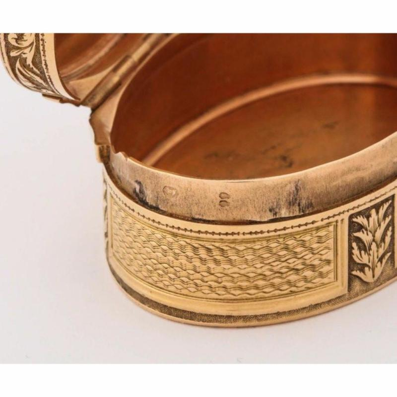 French Empire Oval Gold Snuff Box by H.A. Adam, Paris, circa 1820