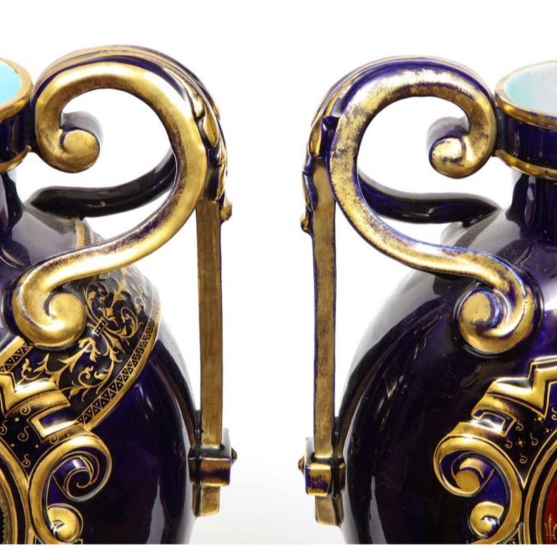Rare Pair of Emile Galle Cobalt Blue Porcelain and Limoges Enamel Portrait Vases