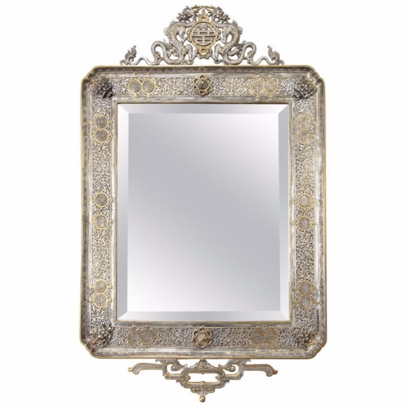 French Japonisme Gilt and Silvered Bronze Wall Mirror by Edouard Lievre