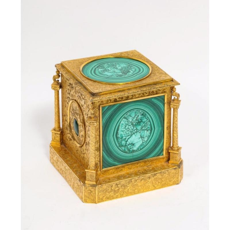 Exquisite Quality Napoleon III Engraved Ormolu and Malachite Perfume Bottle Box