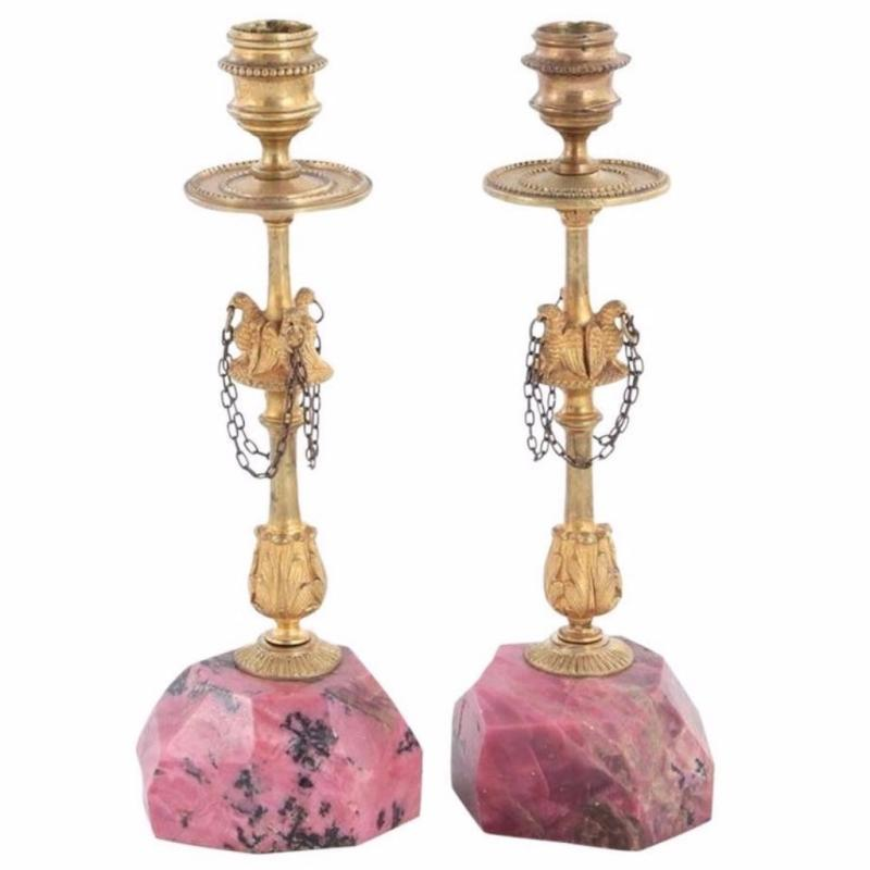 Pair of Russian Gilt Bronze & Rhodonite Candlesticks with Eagle