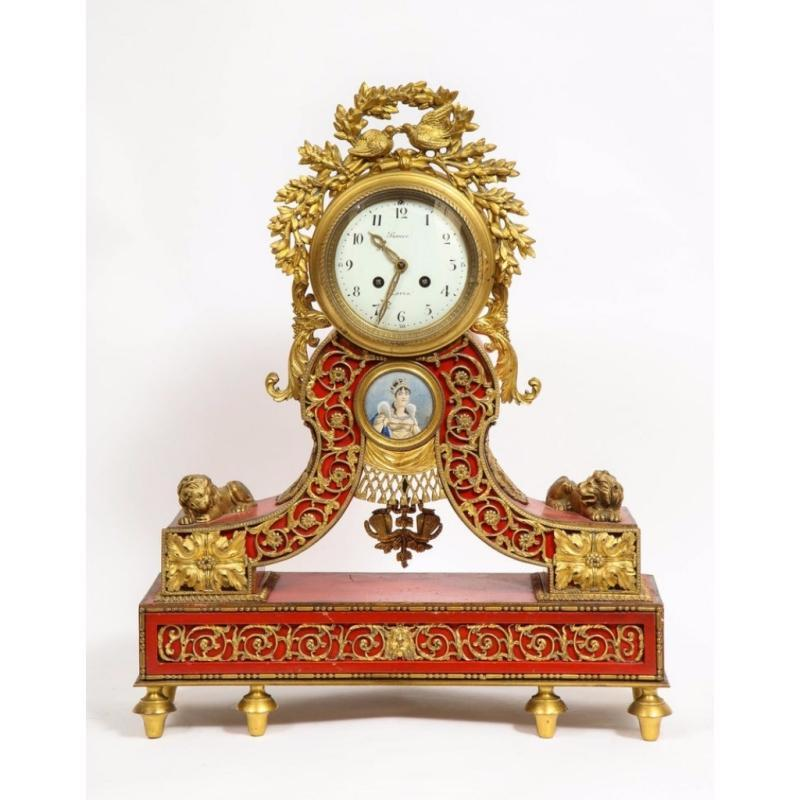 Gorgeous French Ormolu Gilt Bronze-Mounted Red Painted Mantel Clock, 1870