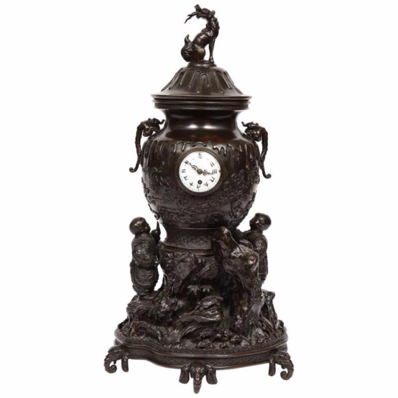 Japanese Patinated Bronze Figural Clock Vase, Meiji Period