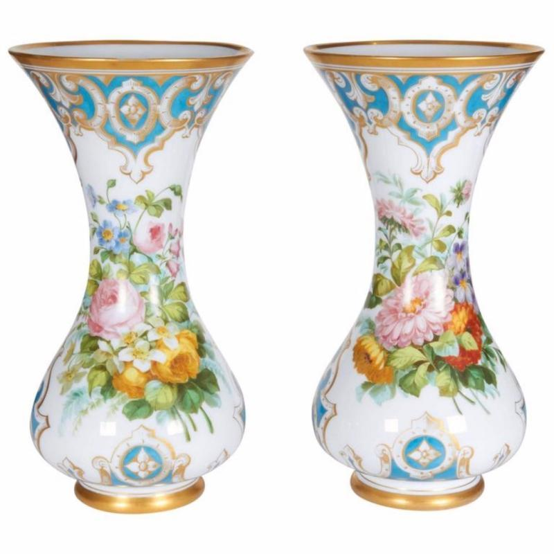 Beautiful Pair of French Opaline Hand-Painted Glass Vases attributed Baccarat