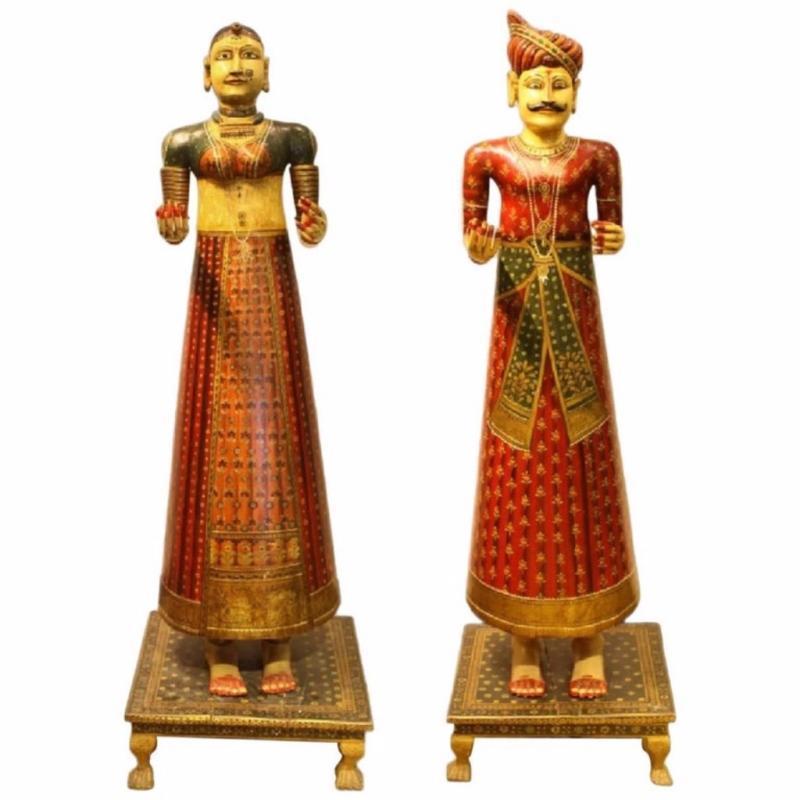 Lifesize Pair of Antique Hand-Painted Indian Figures Dolls Maharaja and Maharani