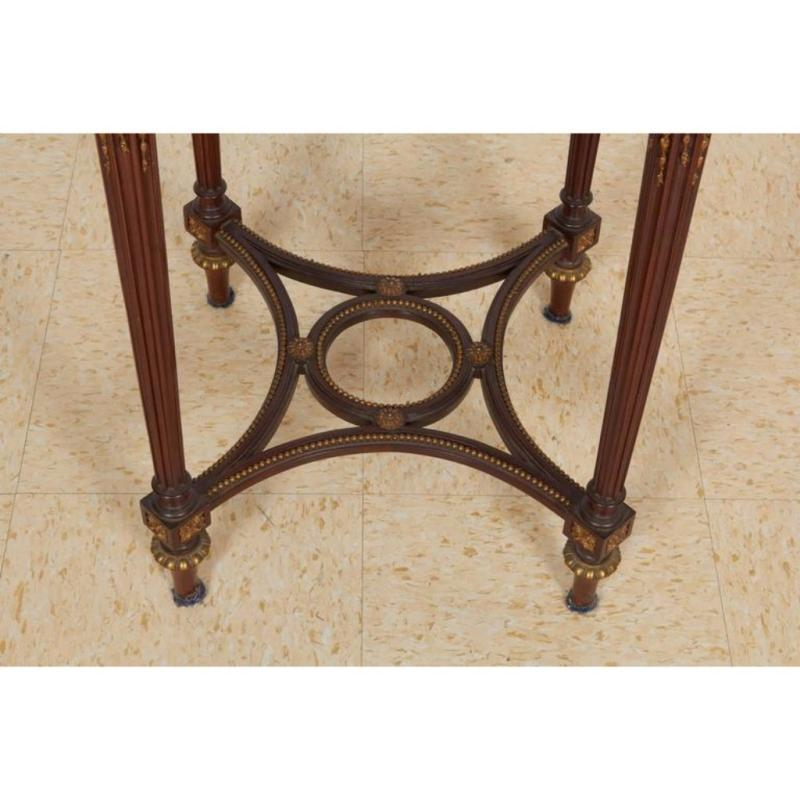 French Bronze-Mounted Mahogany Marble-Top Gueridon Table Attributed to Linke