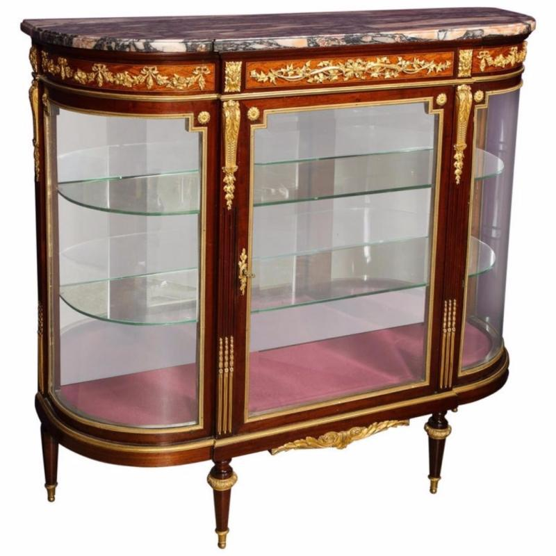 Beautiful French Louis XVI Style Ormolu-Mounted Kingwood Vitrine Commode Cabinet