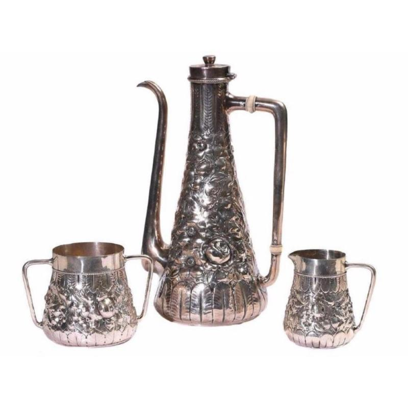 Gorham Repousse Sterling Silver Three-Piece Coffee Set