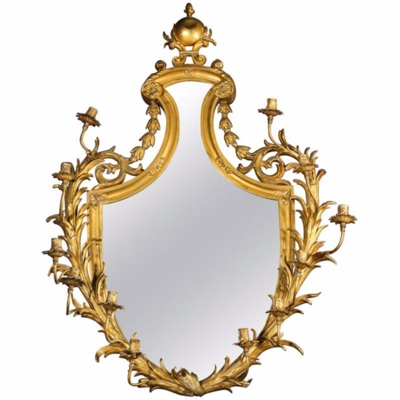 Very Fine Gilt-Bronze Ormolu Girandole Mirror by Edward F. Caldwell & Co.