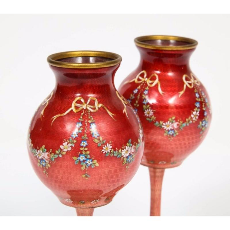 Beautiful Pair of French Red Guilloche Enamel Vases with Flowers
