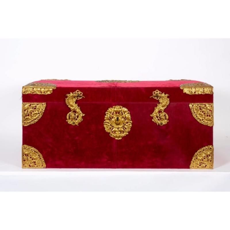 Large Gilt-Bronze Mounted Red Velvet Box / Trunk by E.F. Caldwell & Co.