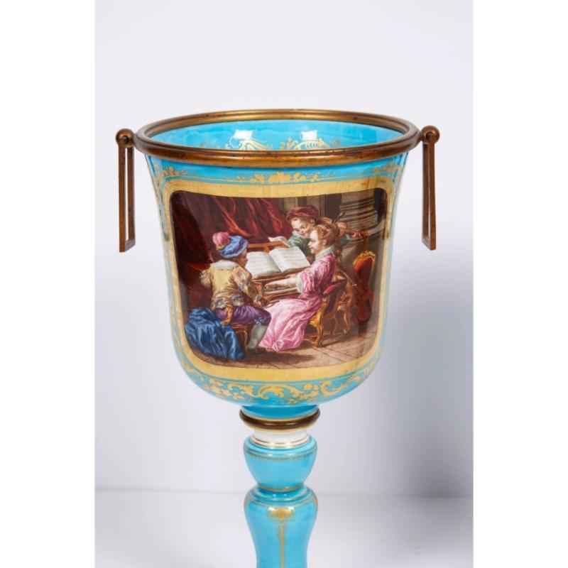 Pair of French Sevres Turquoise Porcelain Cups or Vases, 19th Century