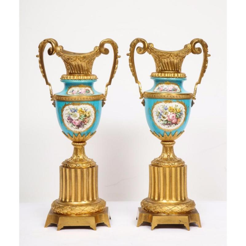 Pair of French Ormolu-Mounted Turquoise Sèvres Porcelain Vases, circa 1880