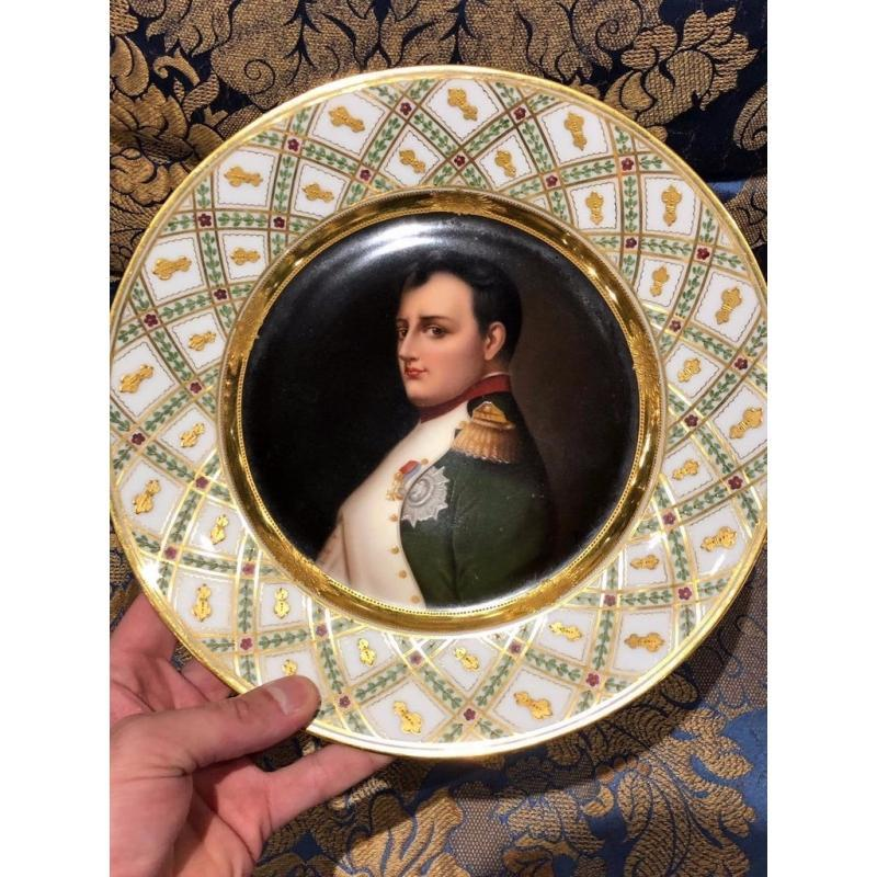 Exceptional Antique Hand Painted Royal Vienna Porcelain Plate of Napoleon