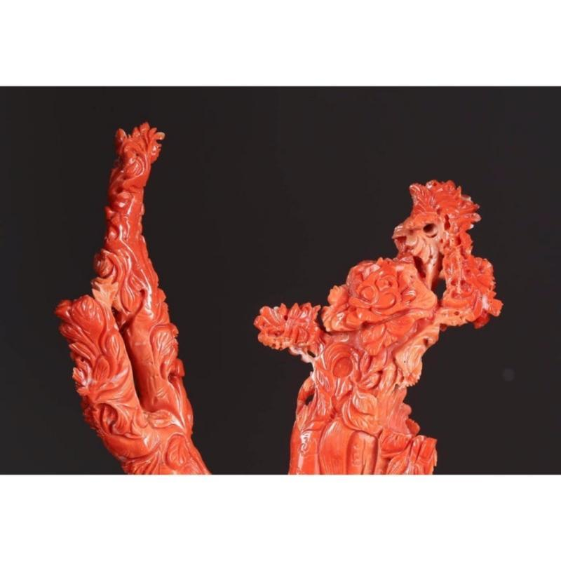 Exceptional Chinese Carved Coral Figural Group of Immortals