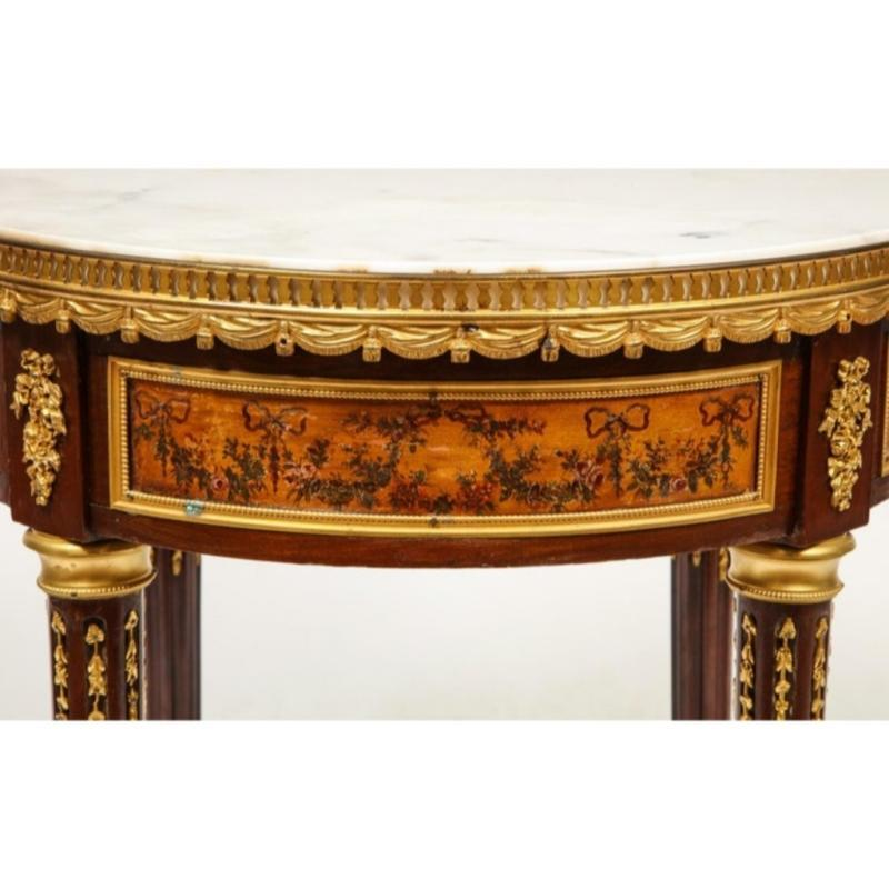 French Ormolu and Vernis Martin Low Table Gueridon with Marble Top, circa 1880