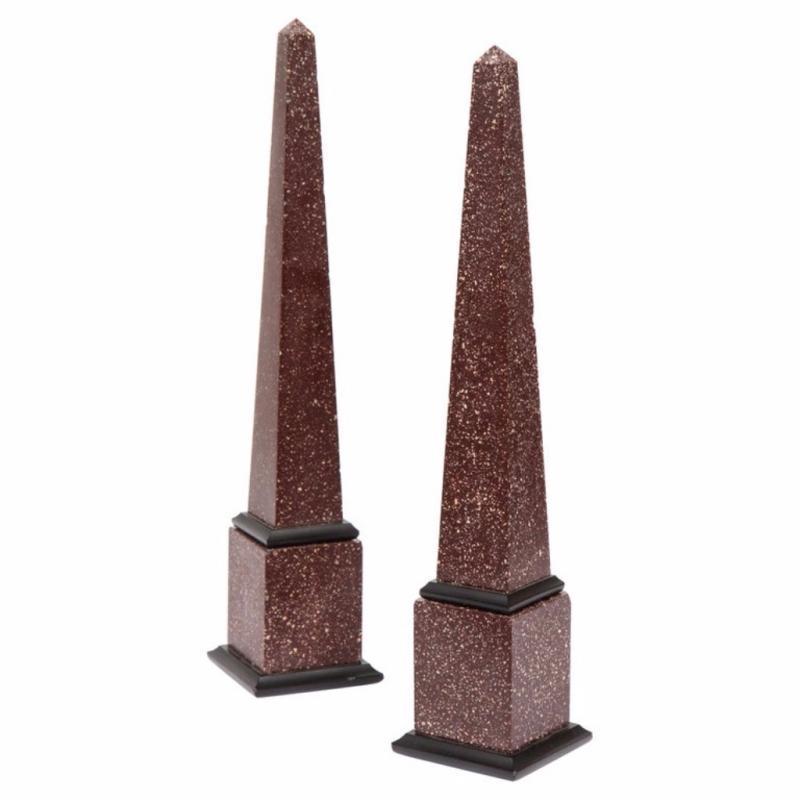 Fine Pair of Italian Grand Tour Egyptian Porphyry Obelisks