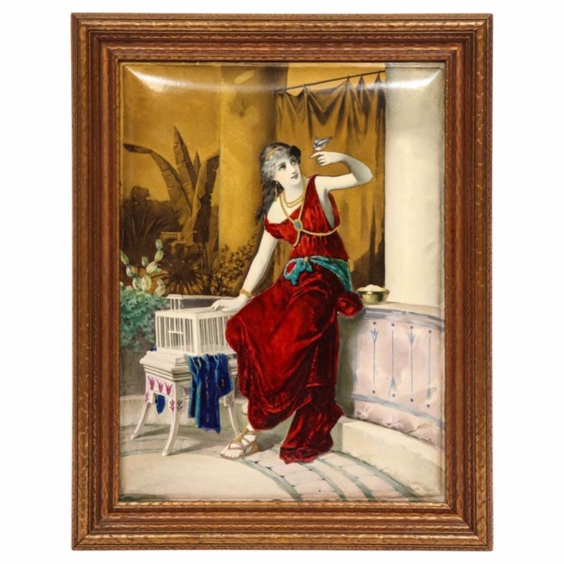 Massive French Enameled Porcelain Plaque After Diana Coomans, circa 1880