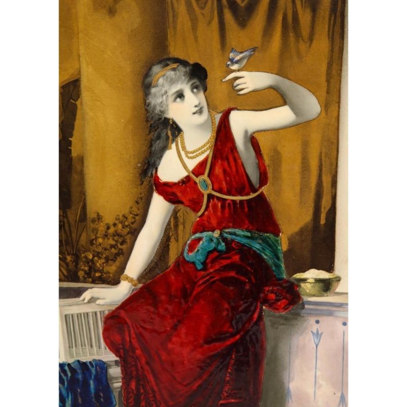 Massive French Enameled Porcelain Plaque After Diana Coomans, circa 1880