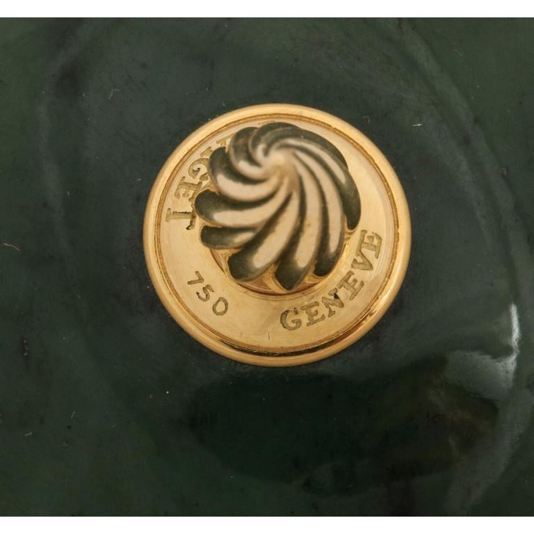 18 Karat Gold and Spinach Jade Round Box with Cover by Piaget Geneve