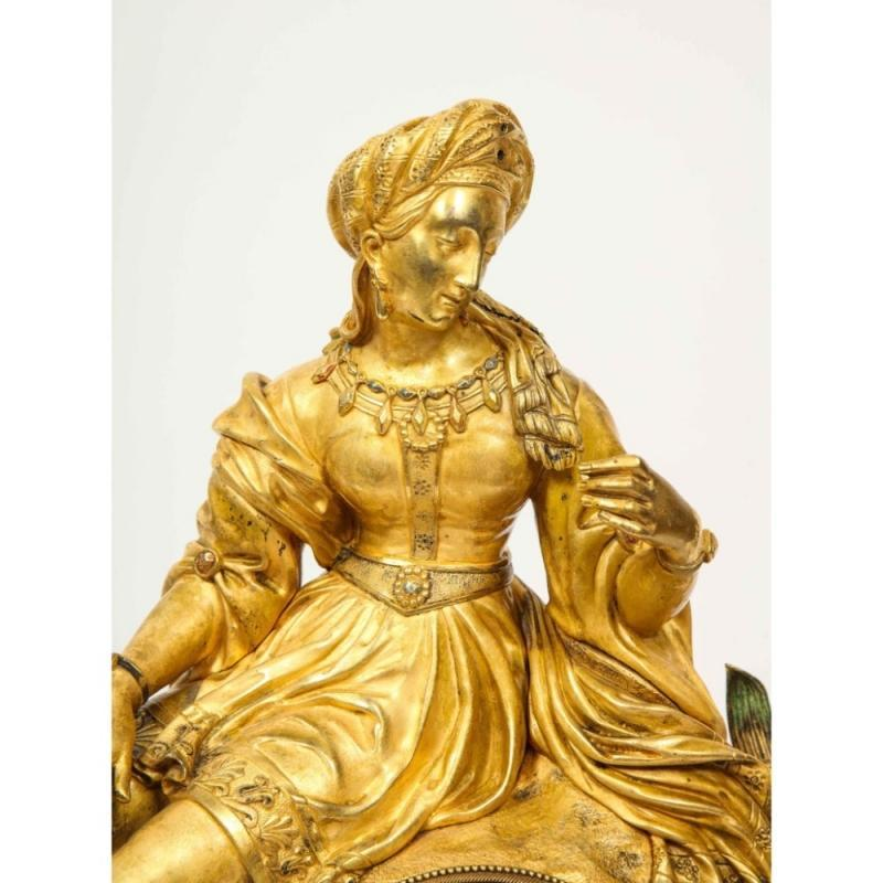 Exquisite French Charles X Ormolu Orientalist Sultana Figural Table Clock