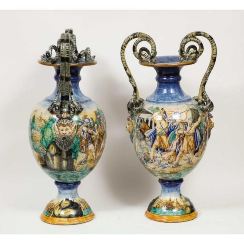Imposing Pair of Large Antique Italian Majolica Snake-Handled Vases