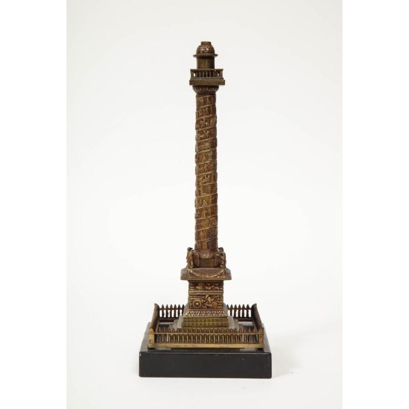 French Grand Tour Mini Bronze Column of the Place Vendome in Paris, 19th Century