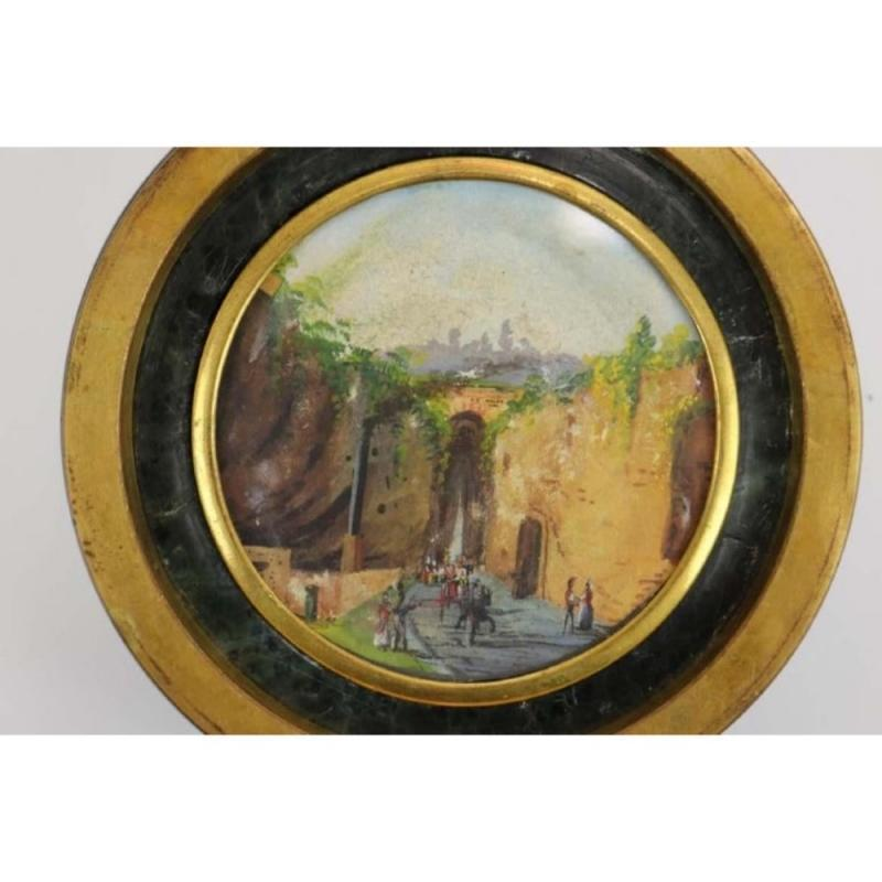 Antique Italian Grand Tour Green Marble Inkwell, Naples, 1860