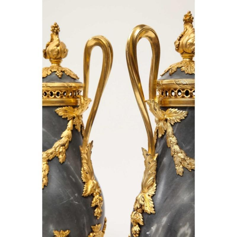 Pair of French Ormolu Mounted Bleu Turquin Marble Brule Parfums Vases