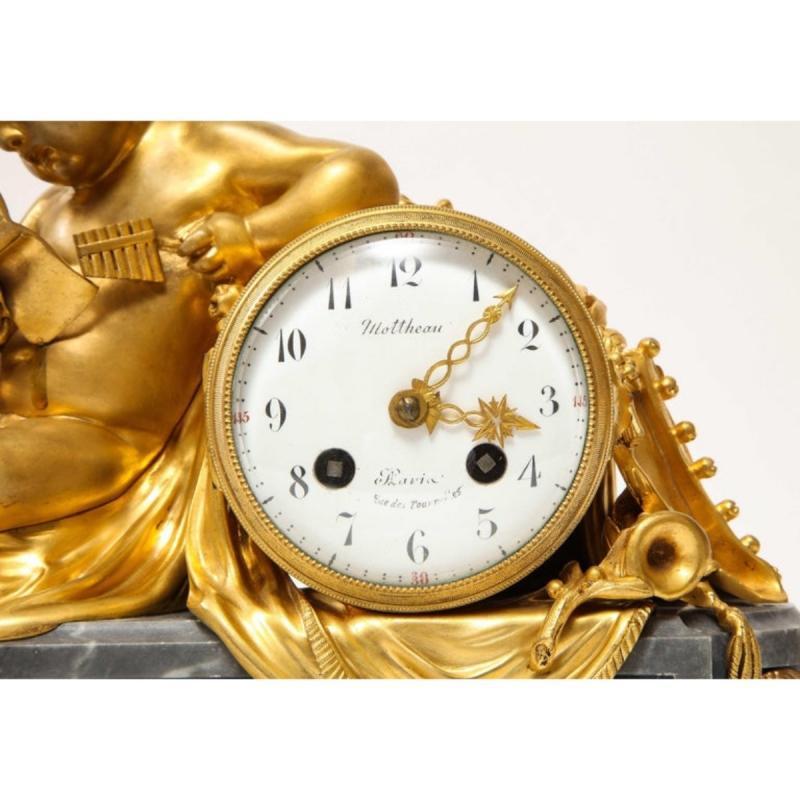French Ormolu-Mounted Bleu Turquin Marble Figural Clock by Maison Mottheau