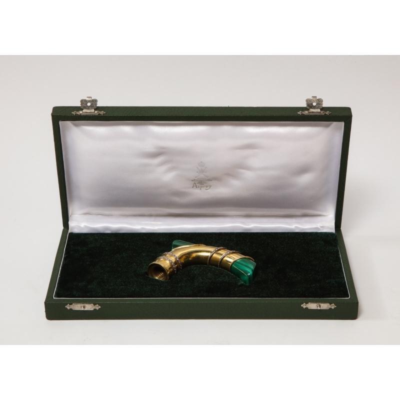 18-carat Gold, Diamonds & Malachite Cane Walking Stick Handle by Asprey London