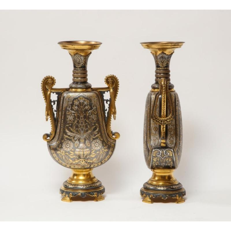 Christofle & Cie, A Pair of French Gilt and Silvered Bronze