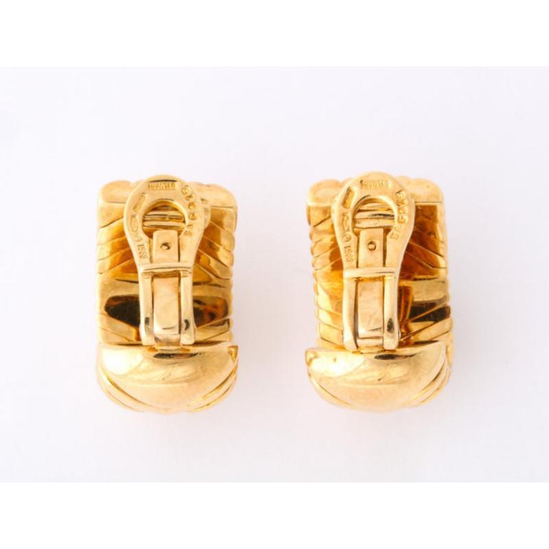 Bulgari, Pair of 18K Gold and Diamond Parentesi Earrings