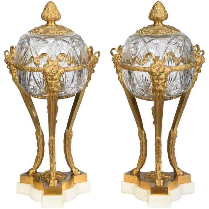 A Pair of French Louis XVI Style Bronze and Cut Crystal Garniture Vases Covers