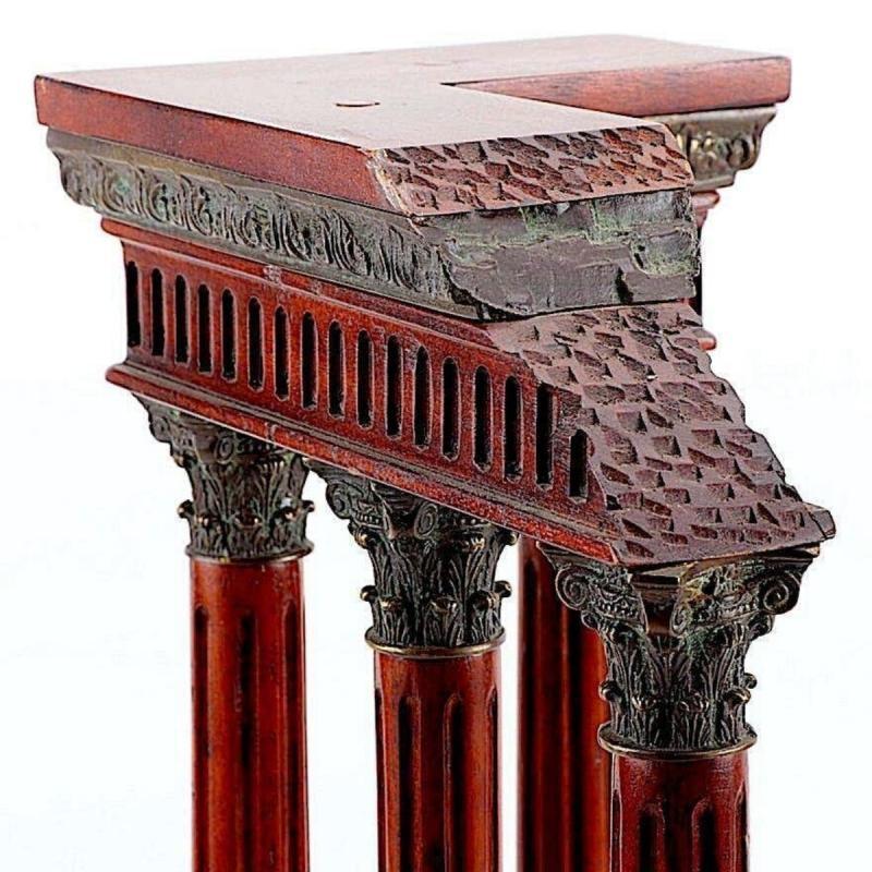 Antique Italian Grand Tour Mahogany Wood & Bronze Roman Ruins Neoclassical Model